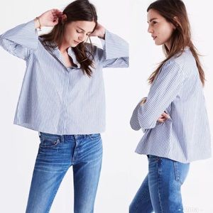 Madewell Striped Bell-sleeve Button Down Top